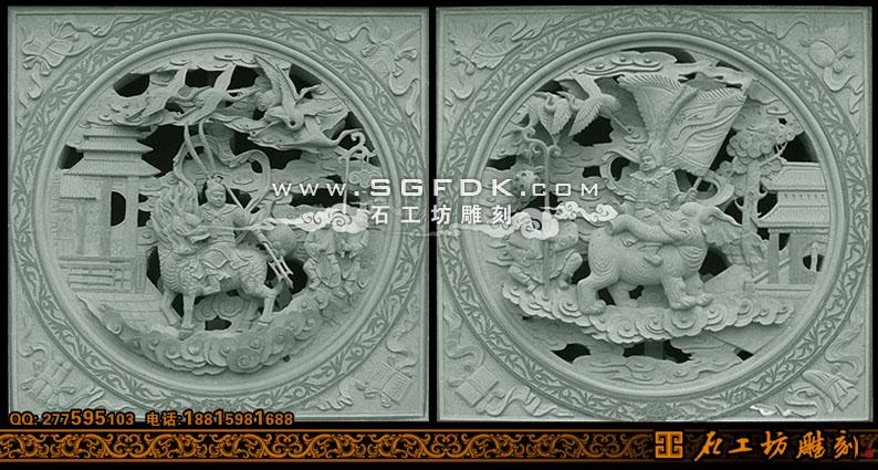 寺庙石雕窗人物透雕窗